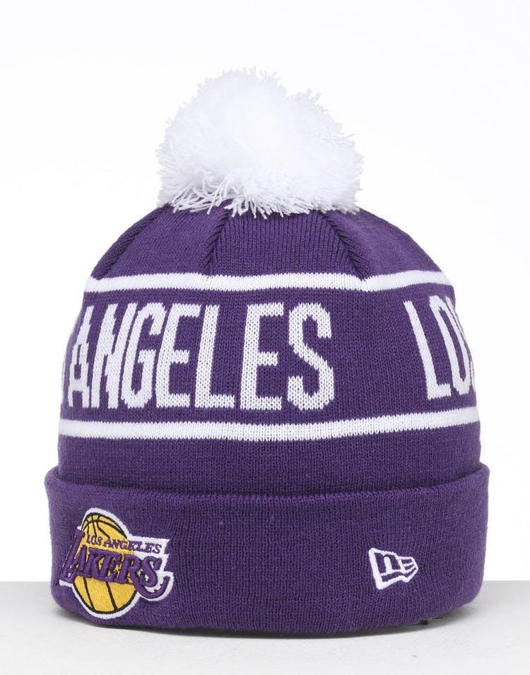 buy online e7b6b 63609 New Era Los Angeles Lakers 6Dart Pom Knit Beanie Purple
