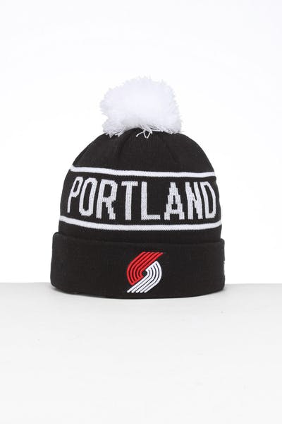 New Era Portland Trail Blazers 6Dart Pom Knit Beanie Black