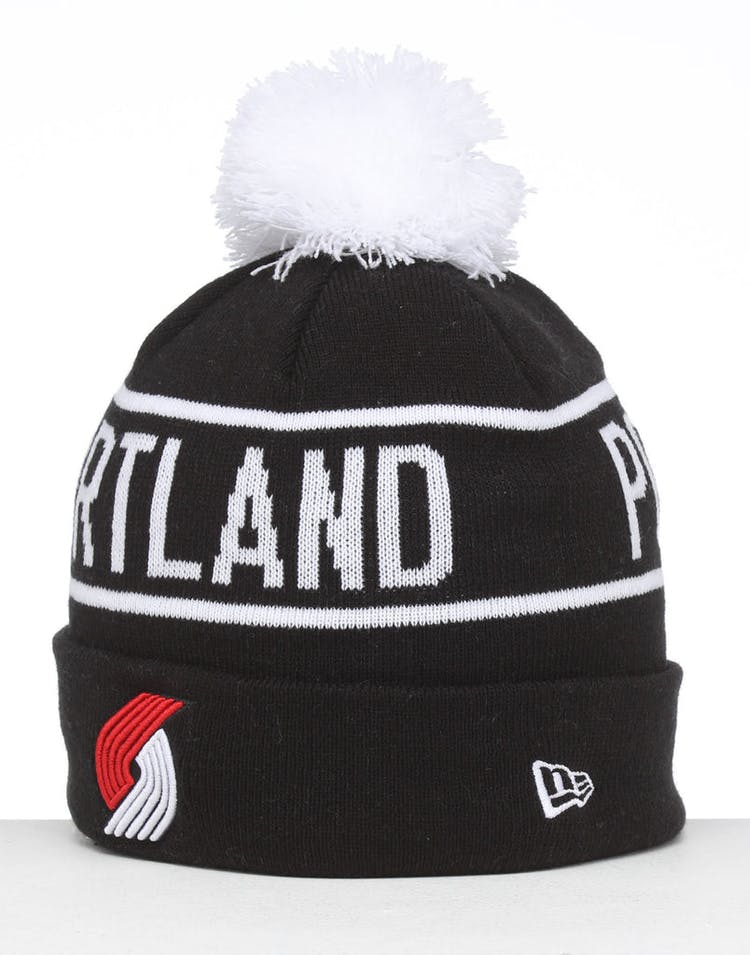f1701df2f New Era Portland Trail Blazers 6Dart Pom Knit Beanie Black