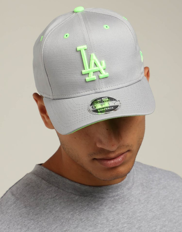 cute buy lower price with New Era Los Angeles Dodgers 9FIFTY Precurved Snapback Grey/Neon ...