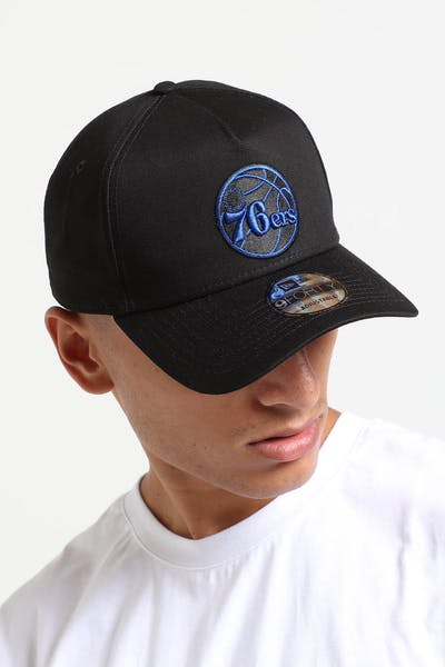 32eb96f8624c89 New Era Philadelphia 76ers 9FORTY A-Frame Snapback Black/Royal ...