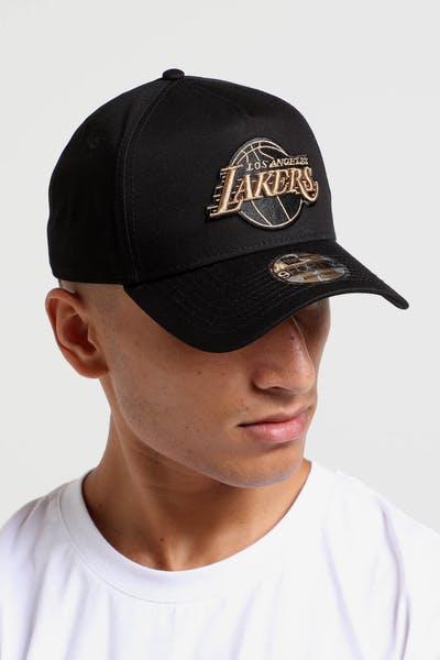531b54fcfa9 New Era Los Angeles Lakers 9FORTY A-Frame Snapback Black Wheat