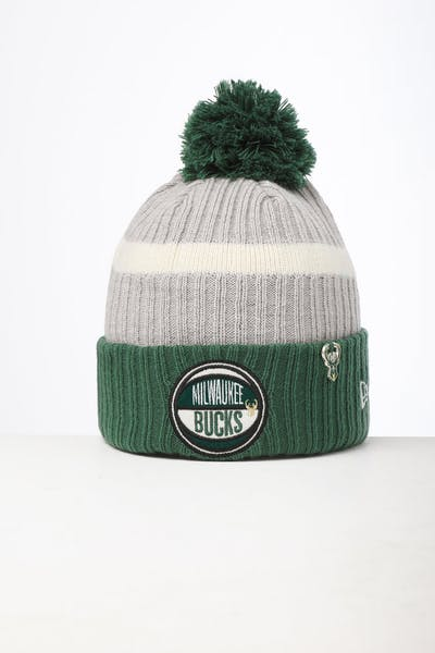 New Era Milwaukee Bucks Knit NBA Draft Beanie Green/OTC