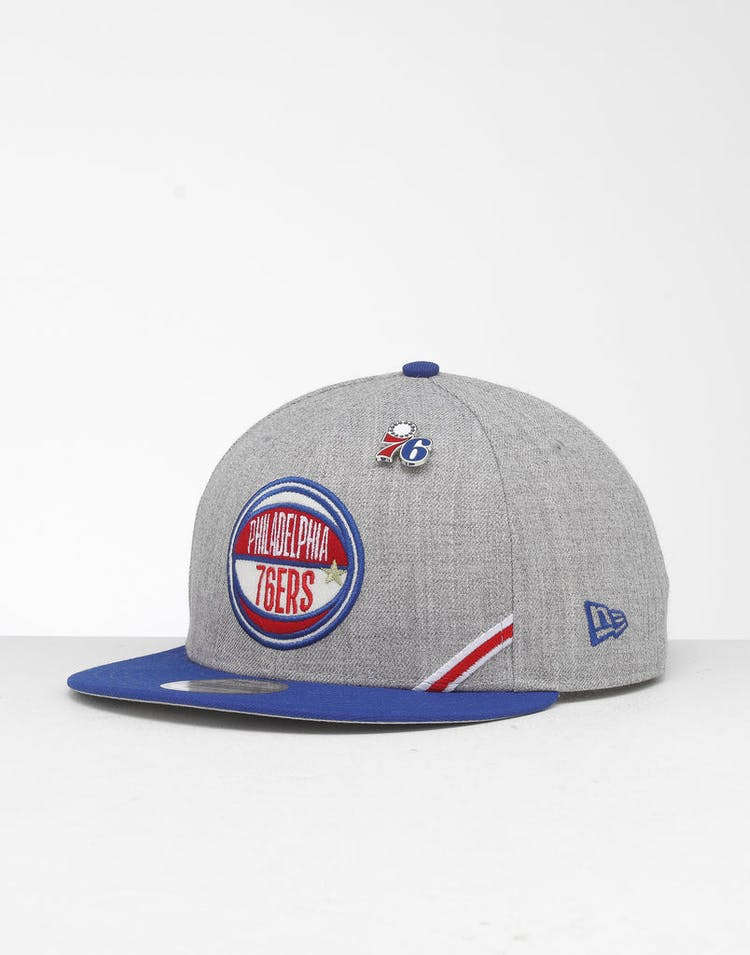 promo code d2dc6 55df4 New Era Philadelphia 76ers 9Fifty NBA Draft Snapback Dark Blue OTC –  Culture Kings