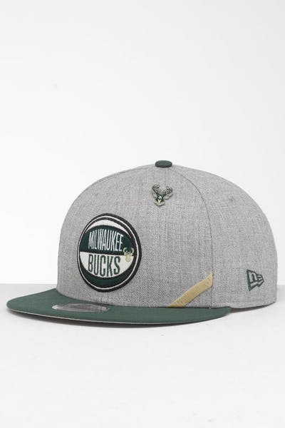 size 40 9ab86 5115a New Era Milwaukee Bucks 9Fifty NBA Draft Snapback Green OTC ...