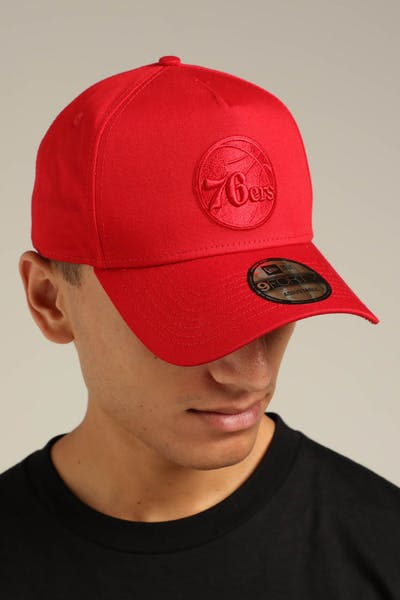 the best attitude 59ab2 d1902 New Era Philadelphia 76ers 9FORTY A-Frame Snapback Scarlet Red Check
