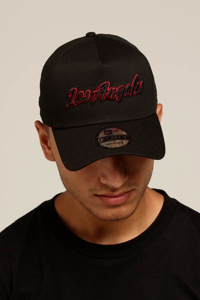 abbf510b308 New Era Los Angeles 9FORTY A-Frame Script Snapback Black Scarlet