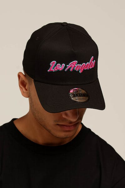 89ad751cc35 New Era Los Angeles 9FORTY A-Frame Script Snapback Black Pink Teal