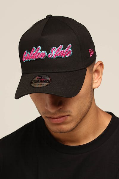 wholesale dealer 637de 3fc08 New Era Golden State 9FORTY A-Frame Script Snapback Black Pink Teal