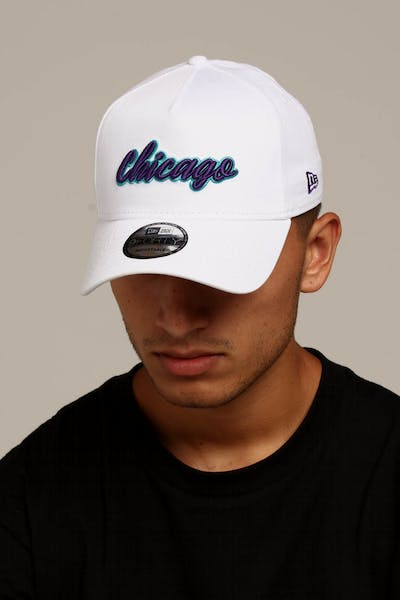 2130146c538 New Era Chicago 9FORTY A-Frame Script Snapback White Purple Teal