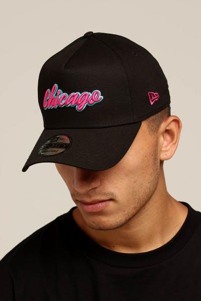 3a661c64827 New Era Chicago 9FORTY A-Frame Script Snapback Black Pink Teal