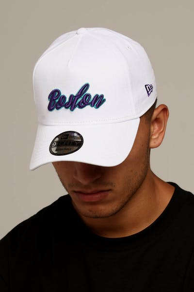 50b35350ef3 New Era Boston 9FORTY A-Frame Script Snapback White Purple Teal