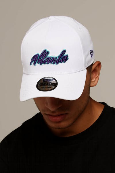 97ad1a80ac1d2 New Era Atlanta 9FORTY A-Frame Script Snapback White Purple Teal