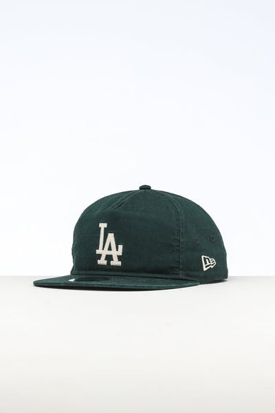 51ccf4f035439 New Era Los Angeles Dodgers The Old Golfer Chainstitch Snapback Dark  Green Ivory