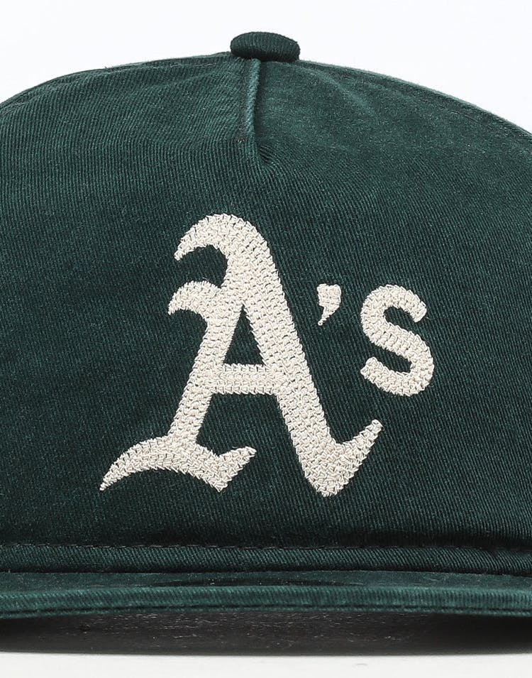 8bce8c6959e71 New Era Oakland Athletics 9FIFTY A-Frame Chainstitch Snapback Dark  Green Ivory