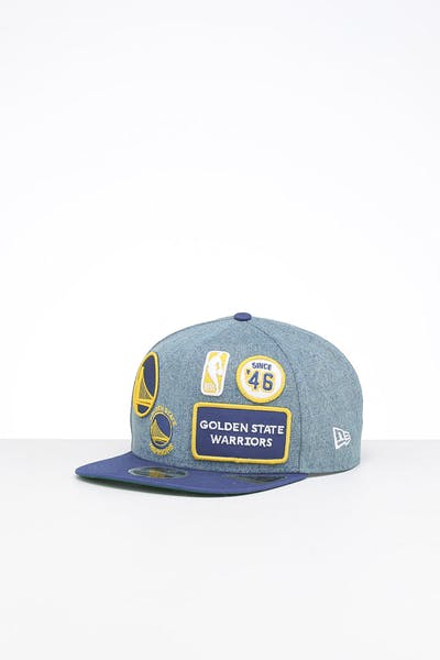 New Era Golden State Warriors 9FIFTY Patch High Crown Snapback Denim/OTC