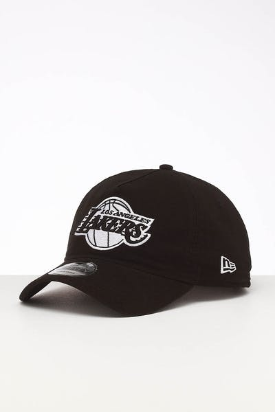 8250c645a8d560 New Era Los Angeles Lakers 9FORTY A-Frame Unstructured Snapback Washed  Black/White ...