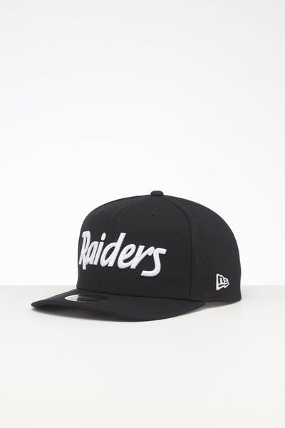 New Era Raiders 9FIFTY High Crown Precurved Snapback Navy Script