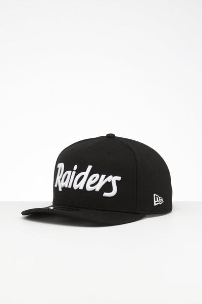 62bfb6a3 New Era Raiders 9FIFTY Retro High Crown Precurved Snapback Black Script ...
