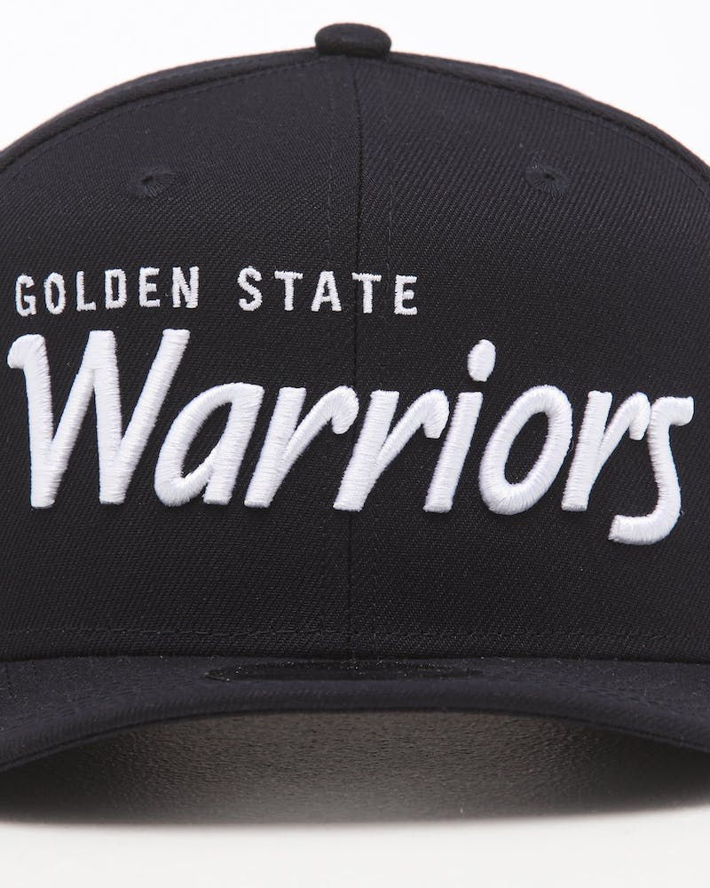 New Era Golden State Warriors 9FIFTY High Crown Precurved Snapback Navy Script