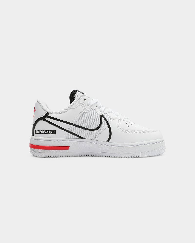 Kids Air Force 1 React (GS) White/Black/Red