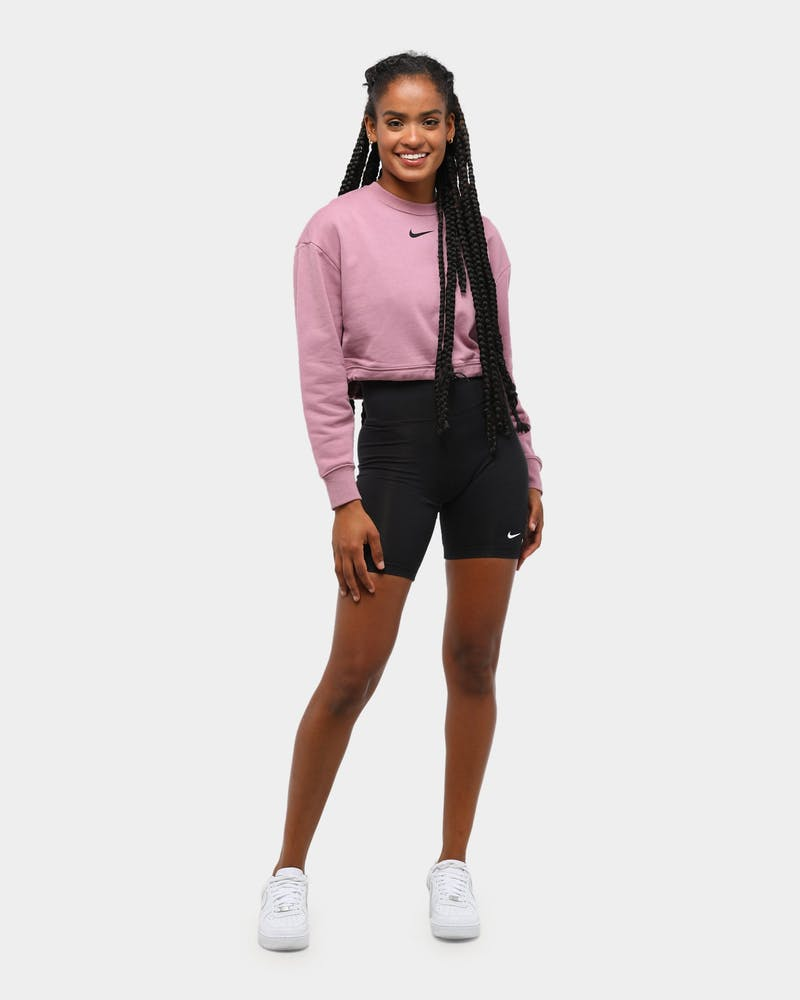 Nike Women's NSW Swoosh Cropped Crew Plum Dust/Black
