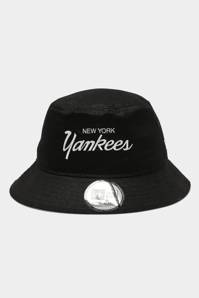 New Era New York Yankees RT Script Bucket Black