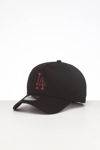 New Era Los Angeles Dodgers Appliqué 9FORTY K-Frame Snapback Black/Red/Tartan
