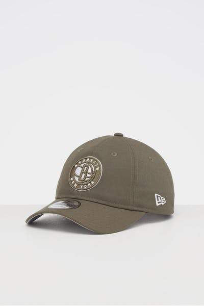NEW ERA BROOKLYN NETS 9TWENTY STRAPBACK OLIVE/WHITE