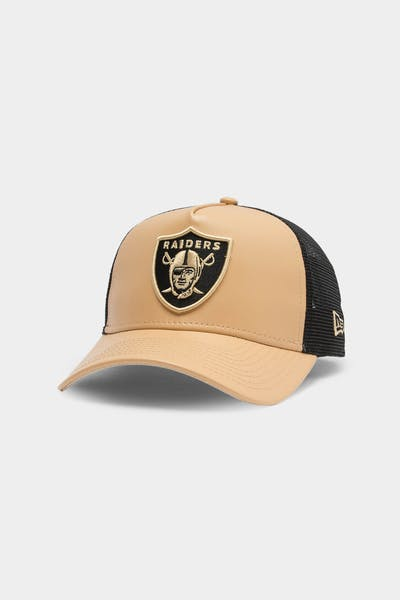 Men's New Era Raiders Leather Trucker Tan/Black