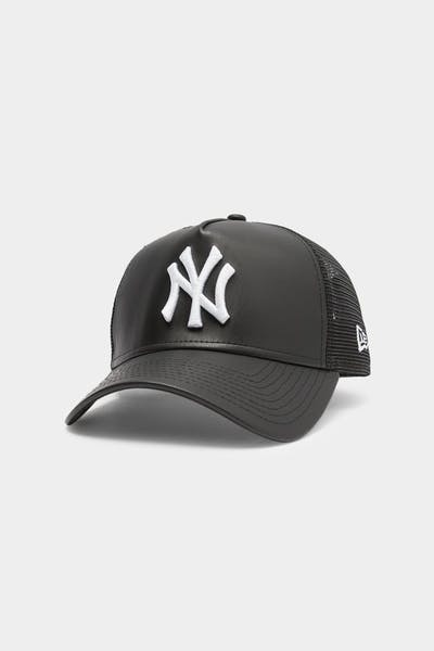 Men's New Era New York Yankees Leather Trucker Black/White