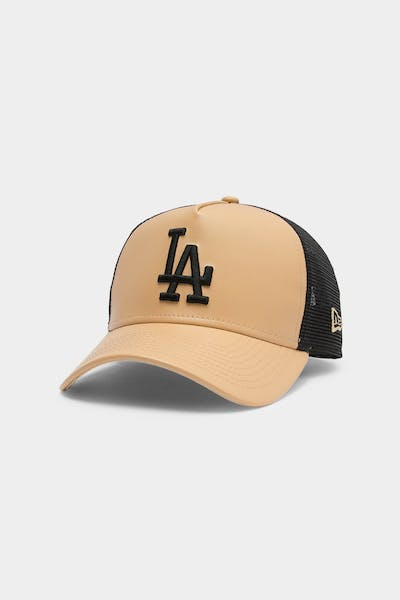 Men's New Era Los Angeles Dodgers Leather Trucker Tan/Black