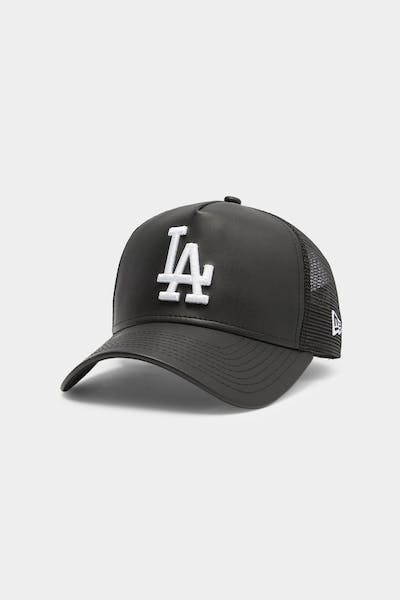 Men's New Era Los Angeles Dodgers Leather Trucker Black/White