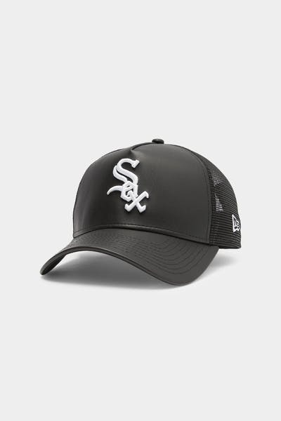 Men's New Era Chicago White Sox Leather Trucker Black/White