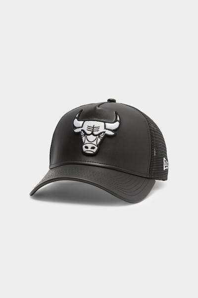 Men's New Era Chicago Bulls Leather Trucker Black/White