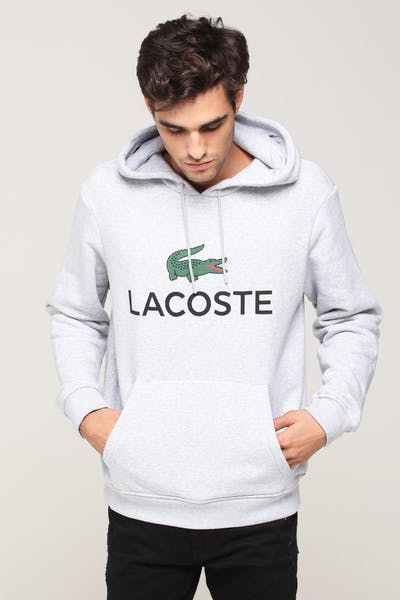 Lacoste Hooded Logo Pull Over Silver
