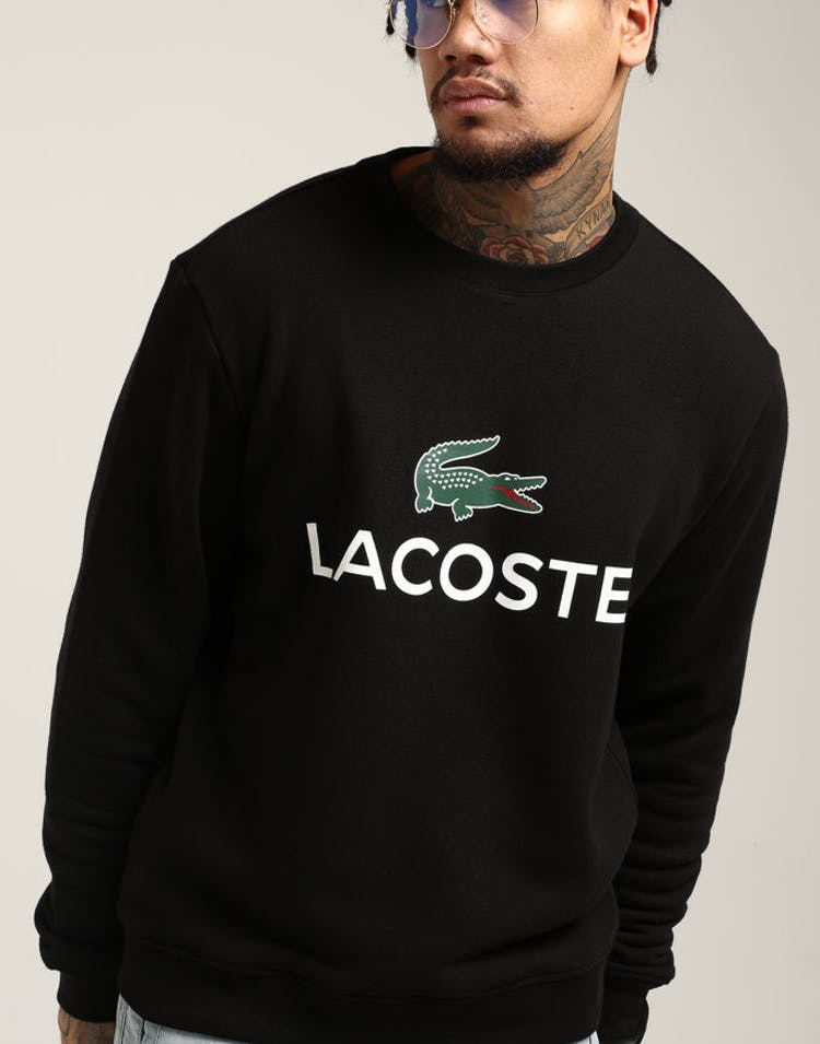 15e00f9b9c1c Lacoste Crew Neck Logo Sweat Black – Culture Kings