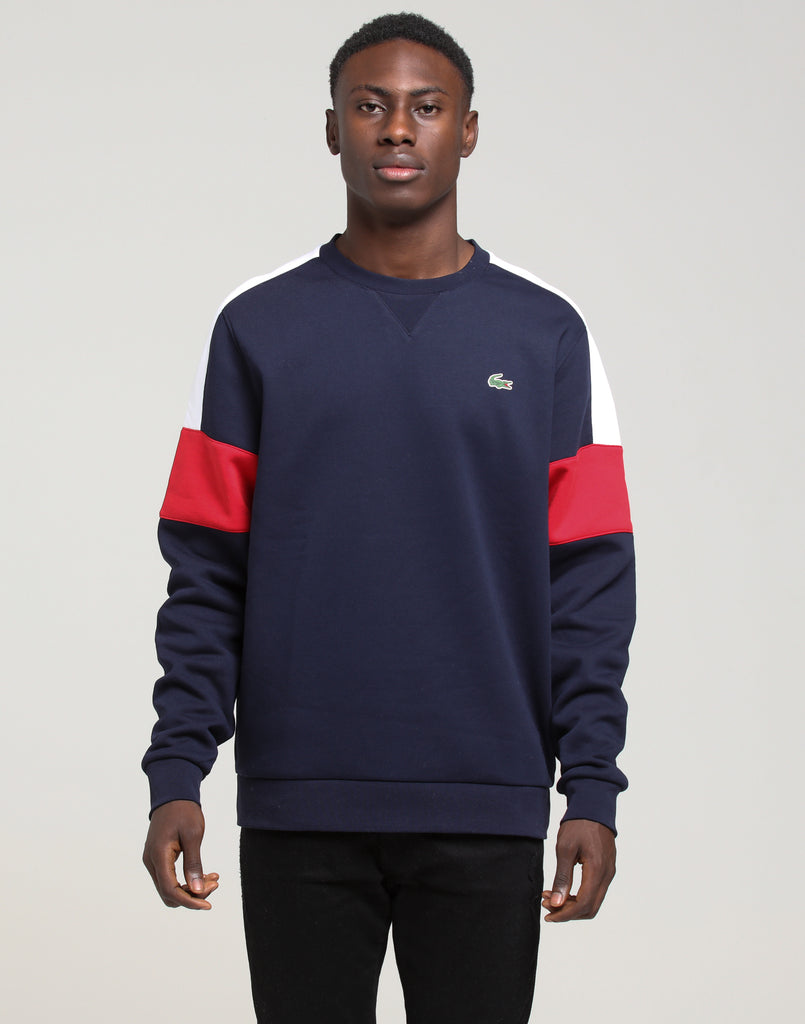 Sweat Block Crew Colour Neck Lacoste Navywhitered OkXuPZiT