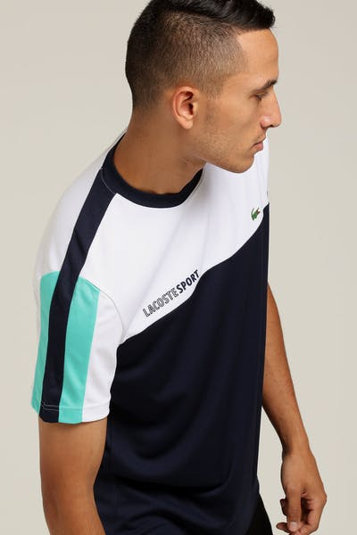 Lacoste Colour Block Performance Tee White/Navy