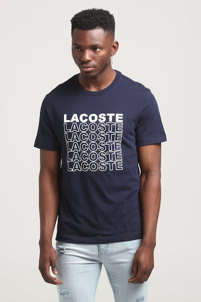 Lacoste Jersey Repeat Logo Tee Navy