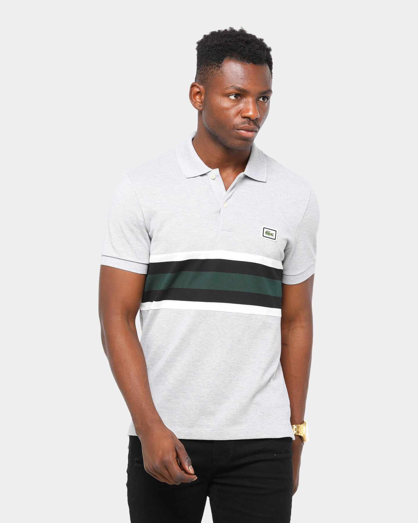 Silver Chine M Lacoste Mens S//S Striped Jersey T-Shirt Regular FIT Shirt