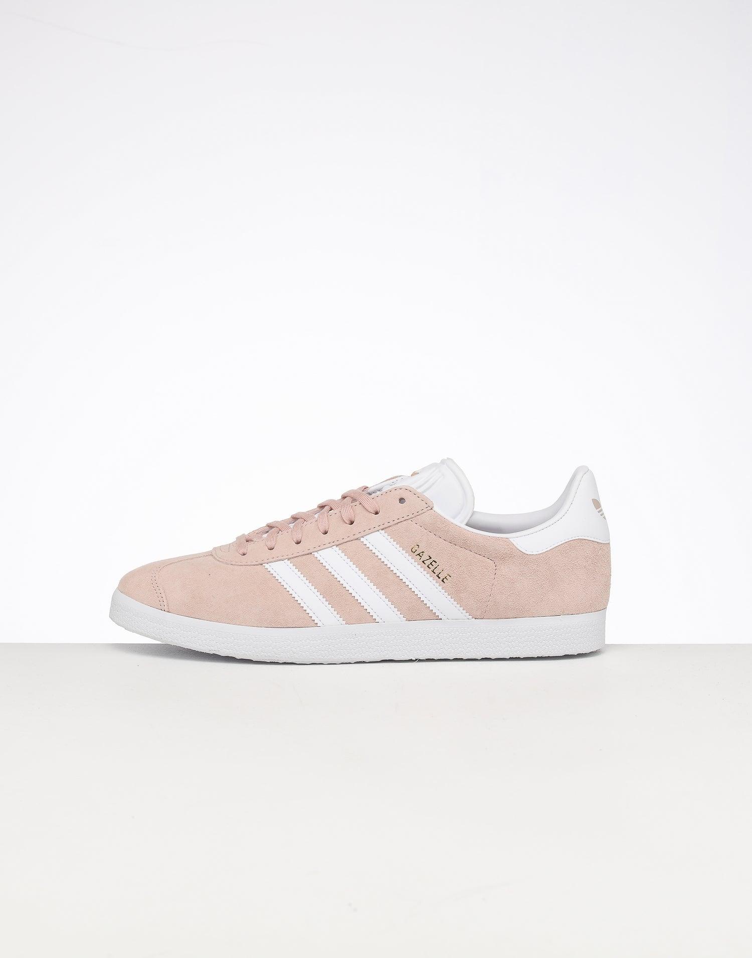 adidas Women's Gazelle W Leather Low Sneaker in Pink White Gold