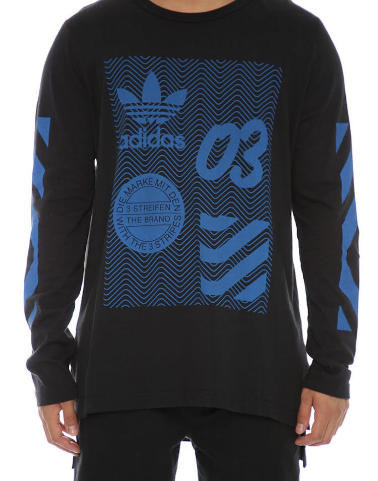 8eb02c4990ddb Adidas Originals NYC Long Sleeve Tee Black Blue – Culture Kings