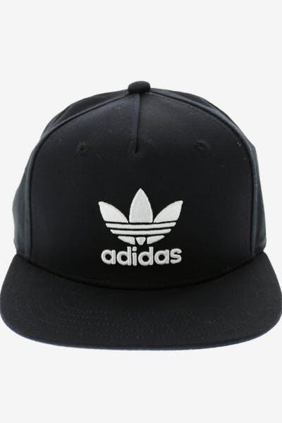 b3ab13a216a Adidas AC Trefoil Flat Peak Snapback Black white
