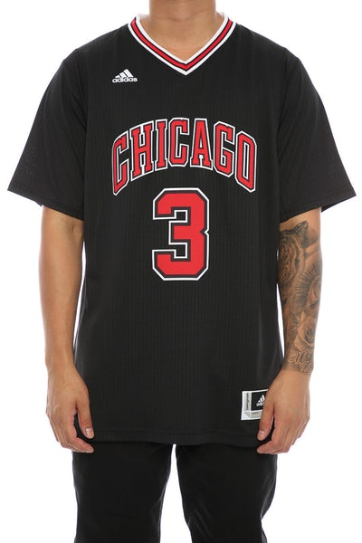 Adidas Performance Chicago Bulls Dwyane Wade '3' Short Sleeve Swingman Jersey Black/Red