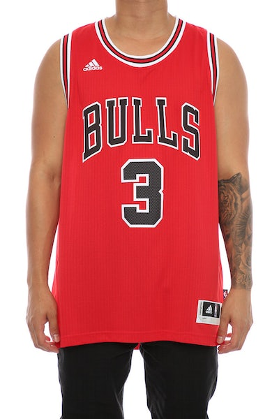Adidas Performance Chicago Bulls Dwyane Wade Short Sleeve Swingman Jersey Red/Black