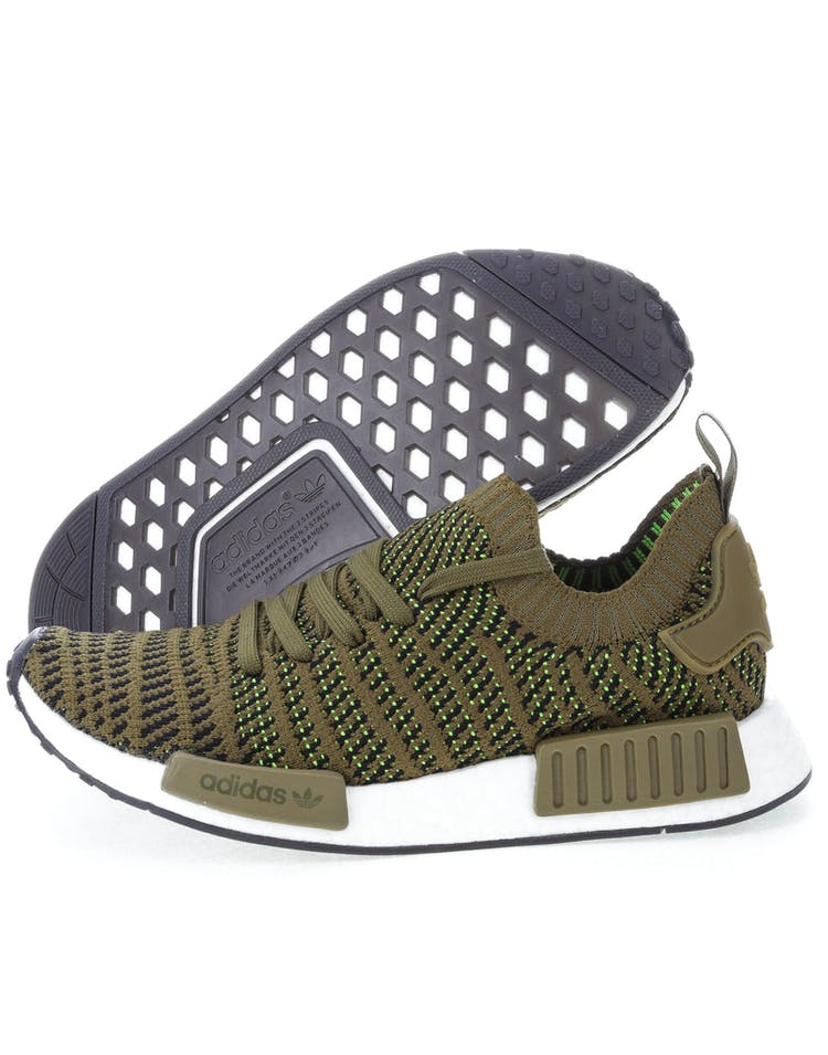 2a171afdb536b Adidas Originals NMD R1 STLT Primeknit Green Black White  CQ2389 ...