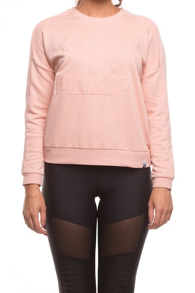 PUMA WOMENS CLASSICS STRUCTURED T7 CREW PEACH