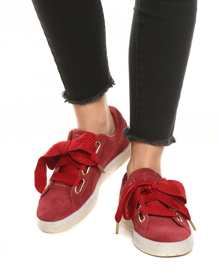 aa6a110faa8 Puma Women s Suede Heart Fabulous Red White