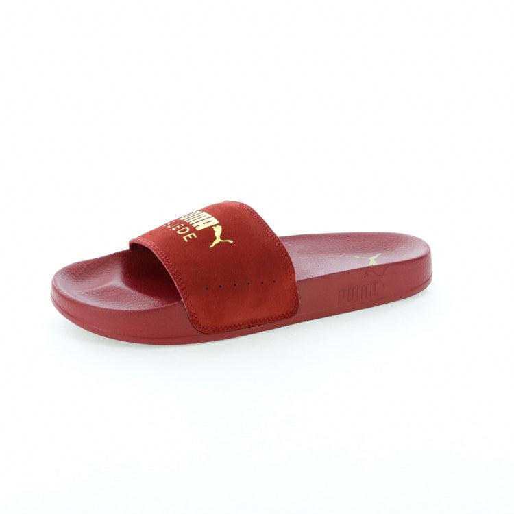 red suede puma slides